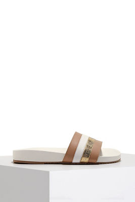 Multistripe beach slide sandal