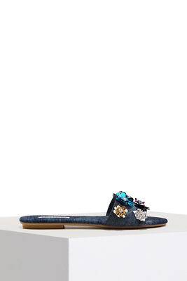 Floral denim slide sandal