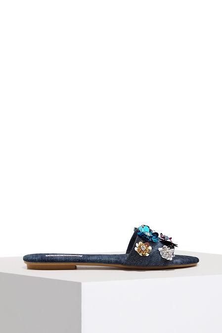 Floral denim slide sandal image