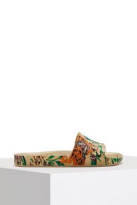 Floral print beach slide sandal