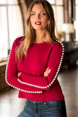 Pearl sleeve sweater