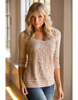 Embroidered Crochet Lace Sweater Photo