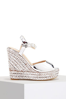 Metallic espadrille wedge heel