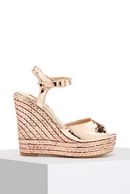 Metallic espadrille wedge heel