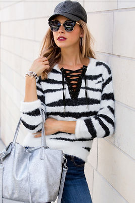 Zebra print lace-up sweater