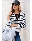 Zebra Print Lace-up Sweater Photo