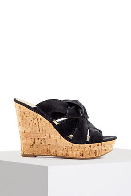 Suede bow wedge sandal