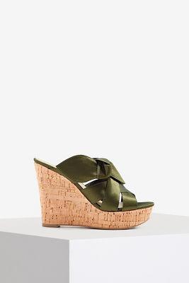 Satin bow wedge sandal