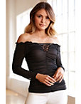 Off-the-shoulder Ruched Mesh Top Photo