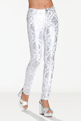 Printed foil skinny jean