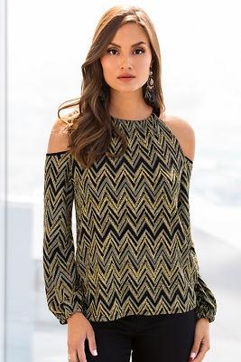 Glitter zigzag knit top