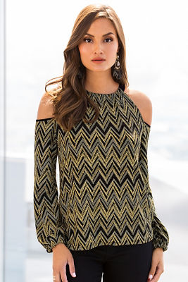 Glitter zigzag knit top