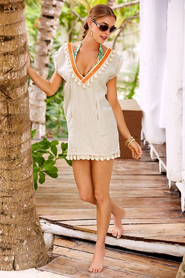 linen tassel tunic top