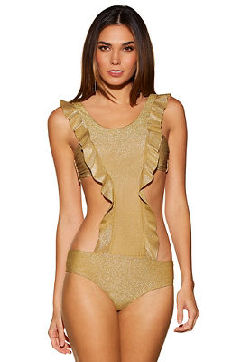 Metallic ruffle monokini swimsuit