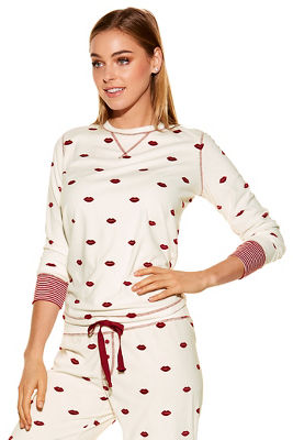 Lip print pj top