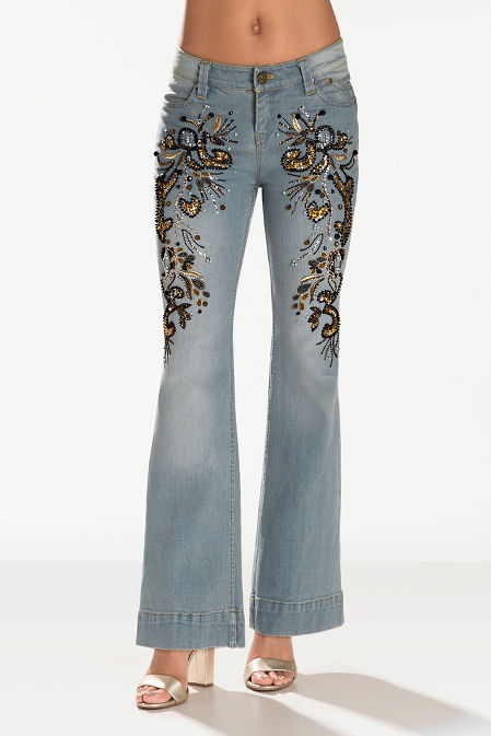 Bead and sequin embellished jean image