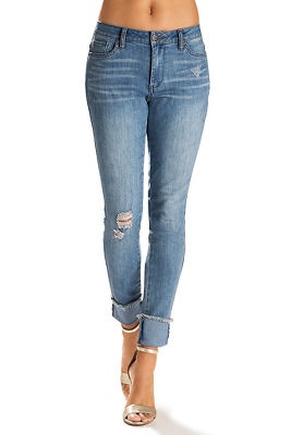 Cuffed frayed ankle jean