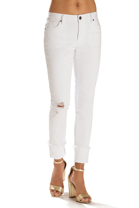 Cuffed frayed ankle jean image