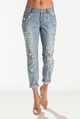 Pearl and rhinestone distressed crop jean