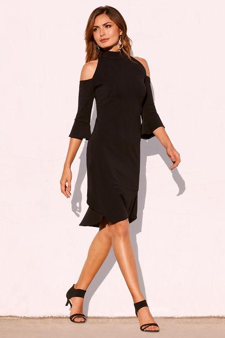 Beyond travel™ cold shoulder ruffle dress image