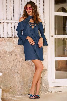 Denim lace-up cold shoulder shift dress