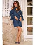 Denim Lace-up Cold Shoulder Shift Dress Photo