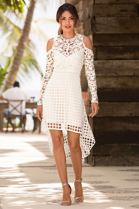 Lace cold shoulder hi-lo dress image