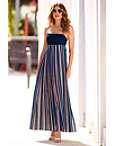 Pleated Stripe Maxi Dress Photo