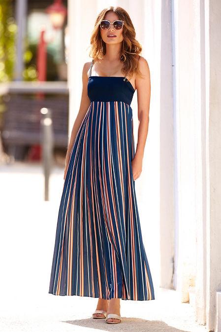 Pleated stripe maxi dress image