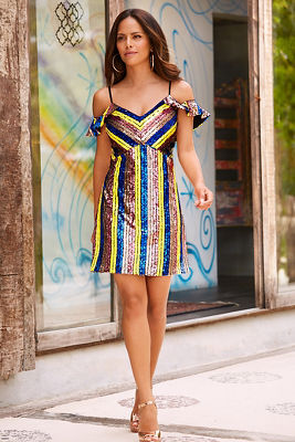 Sequin cold shoulder stripe dress