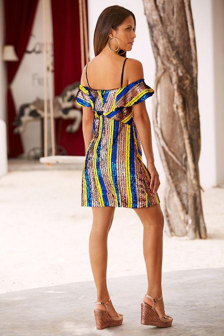 Sequin cold shoulder stripe dress image