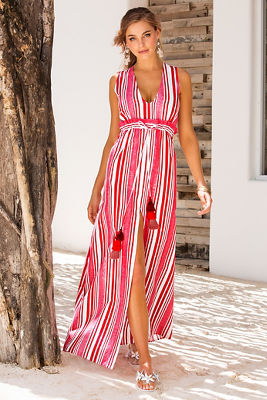 Stripe tassel tie maxi dress