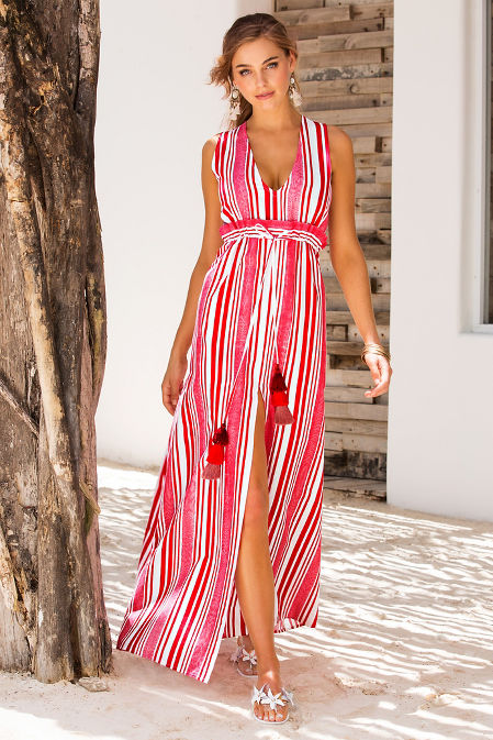 Stripe tassel tie maxi dress image