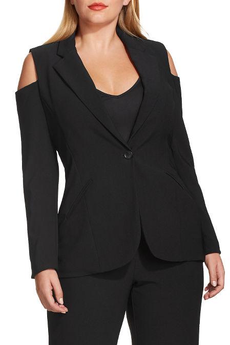 Beyond travel™ cold-shoulder blazer image