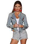 Embroidered Distressed Denim Jacket Photo