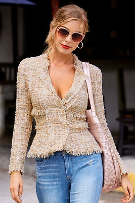 Frayed trim tweed jacket