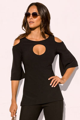 Display product reviews for Beyond travel™ cold shoulder keyhole top