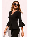 Beyond Travel™ Flare Sleeve V-neck Top Photo