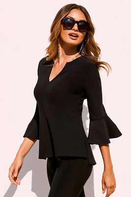 Beyond travel™ flare sleeve v-neck top