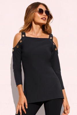Beyond travel™ grommet cold-shoulder top.