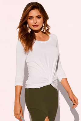 Knot front knit top