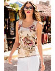 Sequin Floral Mesh Tank Top Photo