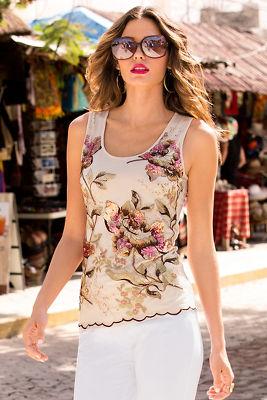 Sequin floral mesh tank top
