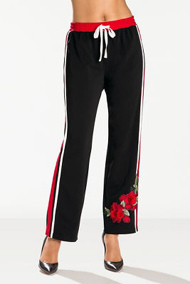 Embroidered racer stripe track pant