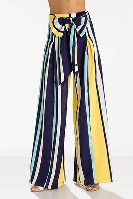 Multicolored striped wide-leg pant
