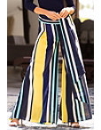Multicolored Striped Wide-leg Pant Photo