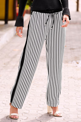 Striped straight-leg track pant