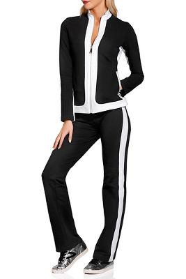 Bold stripe chic zip warm-up set