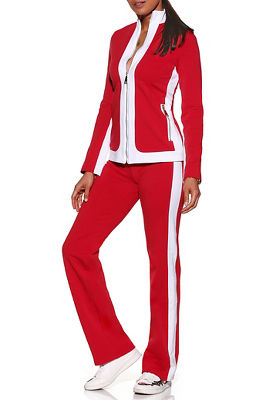 Bold stripe chic zip warm-up set