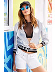 Metallic Sport Racer Stripe Bomber Jacket Photo